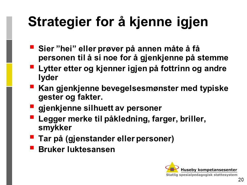 """20 Strategier for å kjenne igjen  Sier """"hei"""" eller prøver på annen måte å få personen til å si noe for å gjenkjenne på stemme  Lytter etter og kjenn"""