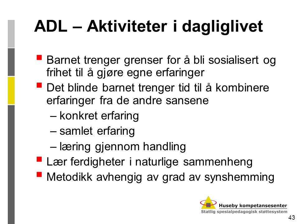 43 ADL – Aktiviteter i dagliglivet  Barnet trenger grenser for å bli sosialisert og frihet til å gjøre egne erfaringer  Det blinde barnet trenger ti