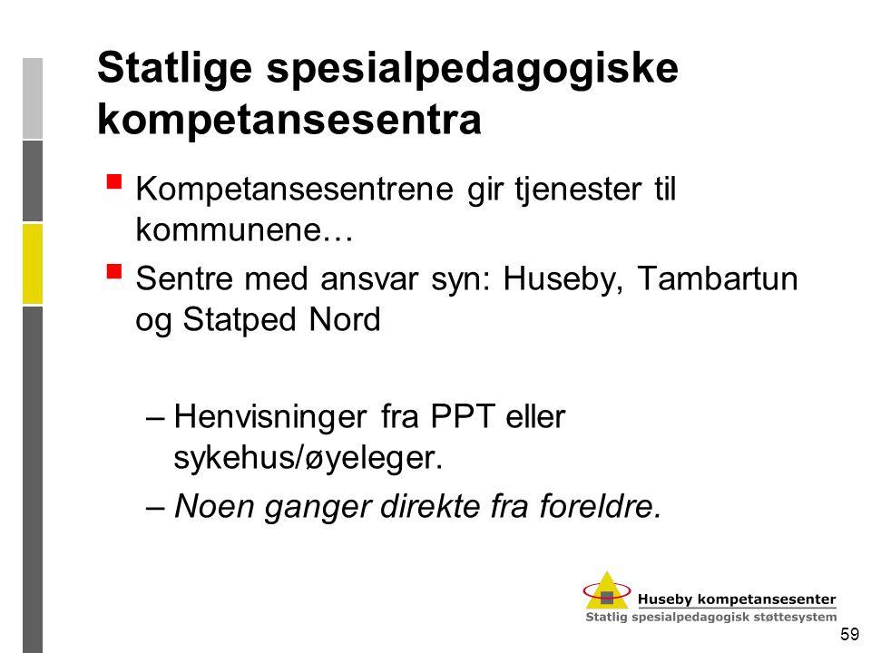 59 Statlige spesialpedagogiske kompetansesentra  Kompetansesentrene gir tjenester til kommunene…  Sentre med ansvar syn: Huseby, Tambartun og Statpe