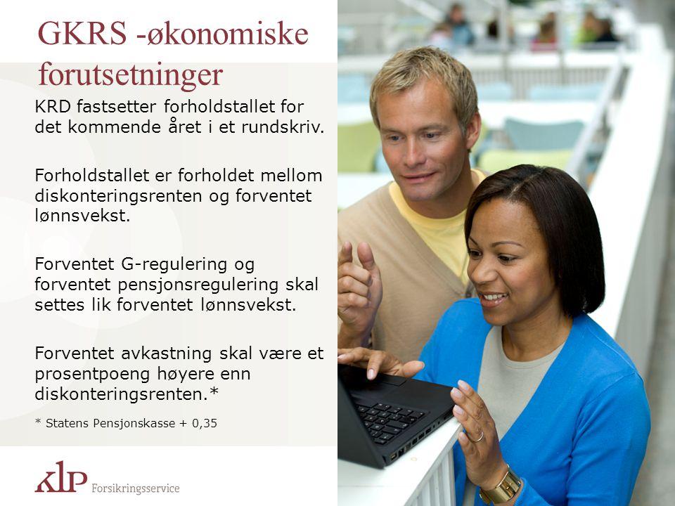 GKRS -økonomiske forutsetninger KRD fastsetter forholdstallet for det kommende året i et rundskriv. Forholdstallet er forholdet mellom diskonteringsre