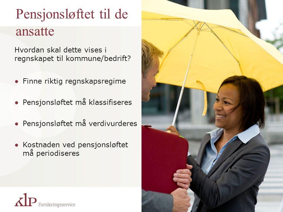 Pensjonsløftet til de ansatte Hvordan skal dette vises i regnskapet til kommune/bedrift? ●Finne riktig regnskapsregime ●Pensjonsløftet må klassifisere