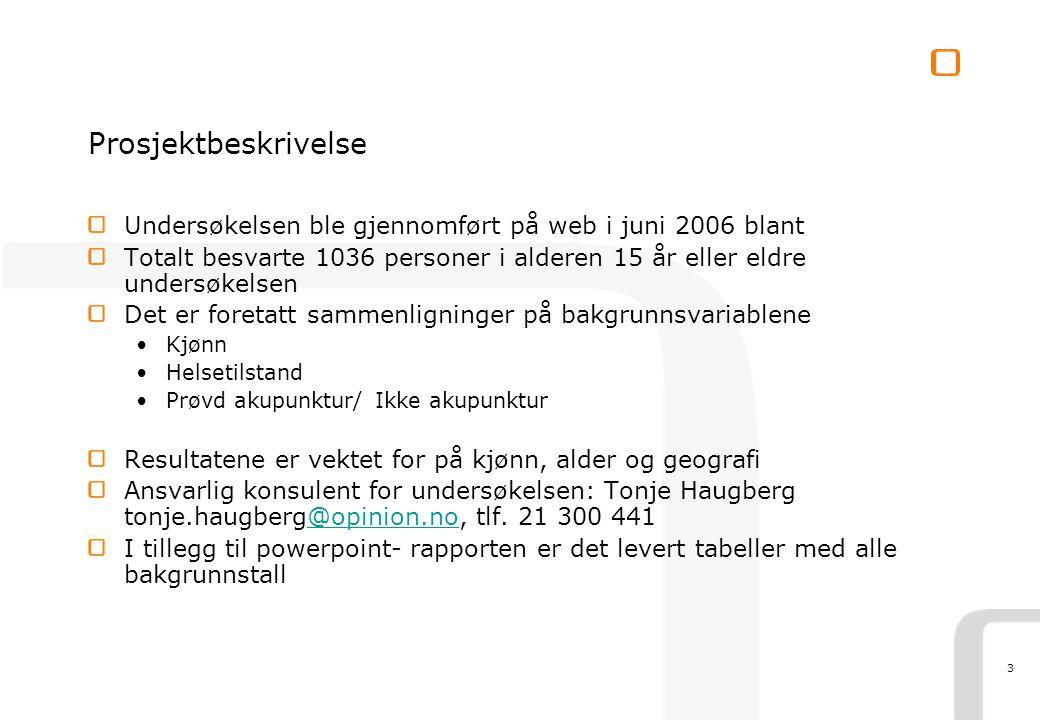 3 Prosjektbeskrivelse Undersøkelsen ble gjennomført på web i juni 2006 blant Totalt besvarte 1036 personer i alderen 15 år eller eldre undersøkelsen D