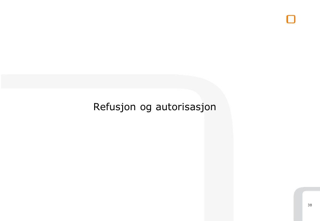 38 Refusjon og autorisasjon