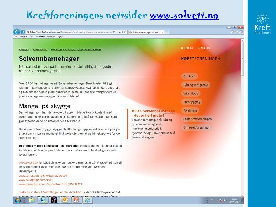Tittel på foredraget Kreftforeningens nettsider www.solvett.nowww.solvett.no