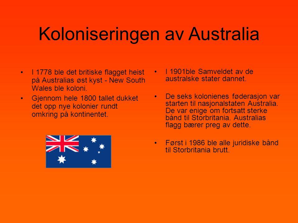 Koloniseringen av Australia •I 1778 ble det britiske flagget heist på Australias øst kyst - New South Wales ble koloni. •Gjennom hele 1800 tallet dukk