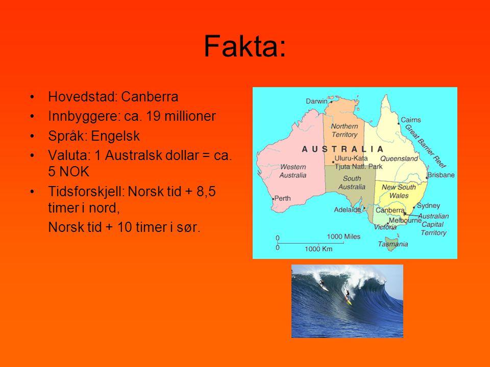 Fakta: •Hovedstad: Canberra •Innbyggere: ca. 19 millioner •Språk: Engelsk •Valuta: 1 Australsk dollar = ca. 5 NOK •Tidsforskjell: Norsk tid + 8,5 time