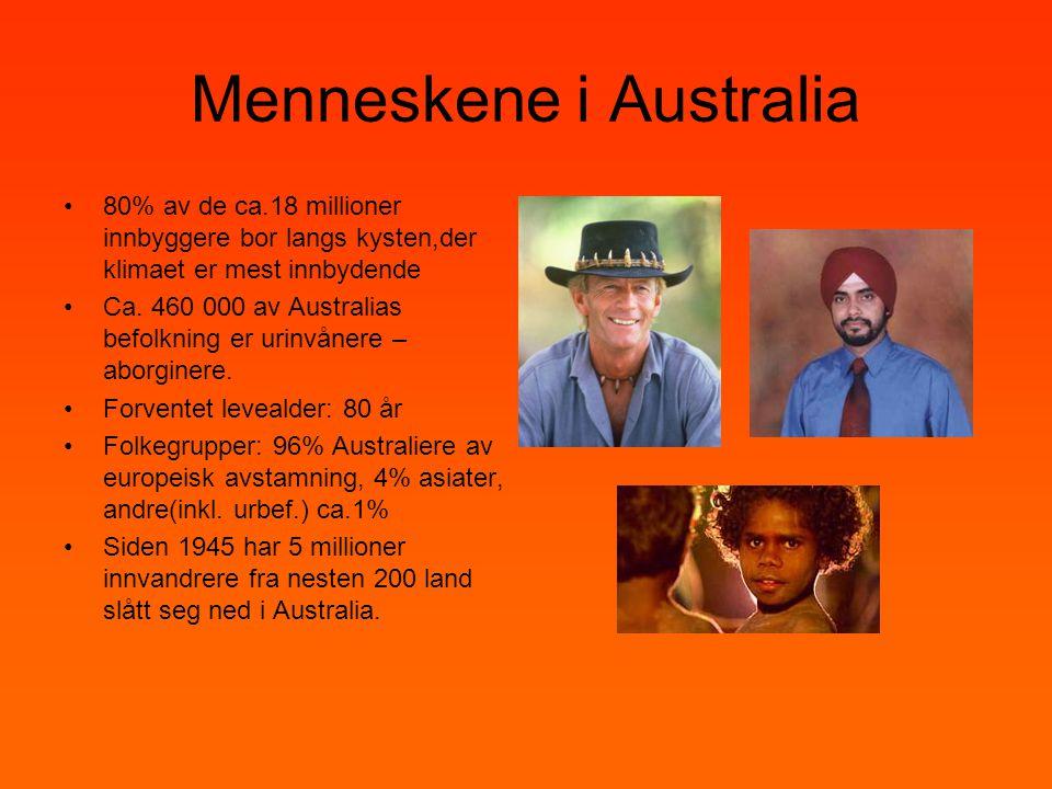 Menneskene i Australia •80% av de ca.18 millioner innbyggere bor langs kysten,der klimaet er mest innbydende •Ca. 460 000 av Australias befolkning er