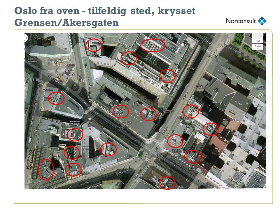 Oslo fra oven - tilfeldig sted, krysset Grensen/Akersgaten