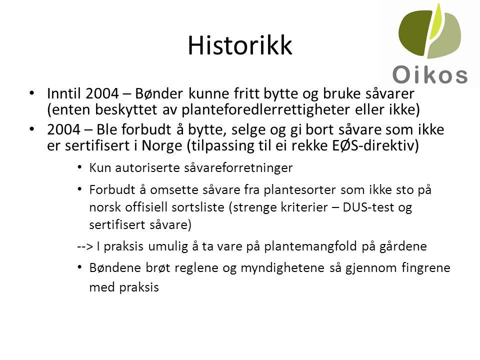 Historikk • Inntil 2004 – Bønder kunne fritt bytte og bruke såvarer (enten beskyttet av planteforedlerrettigheter eller ikke) • 2004 – Ble forbudt å b