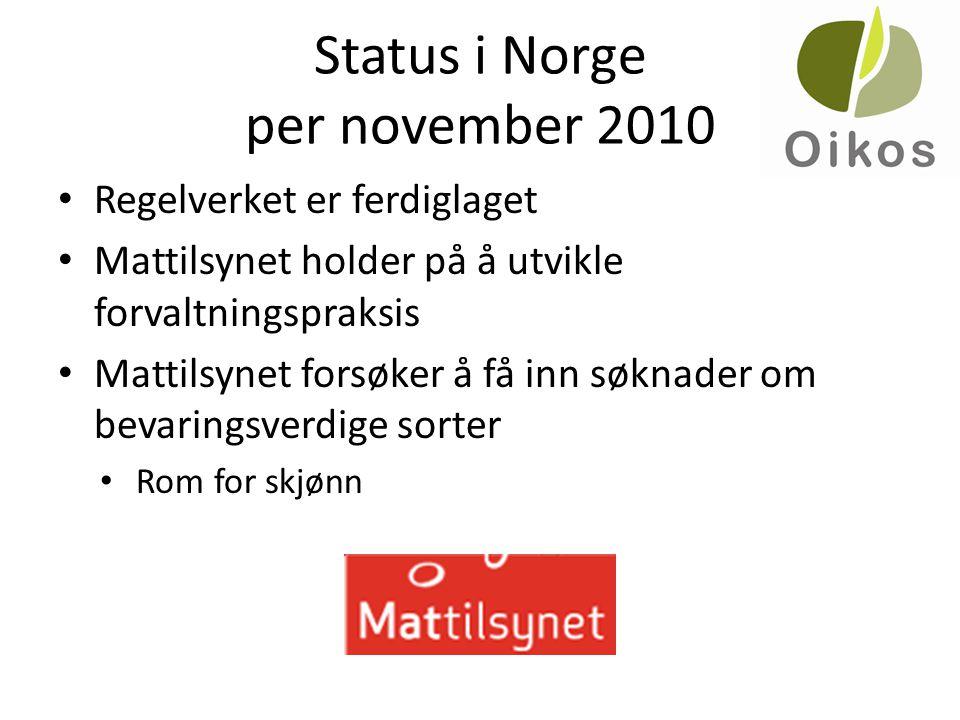 Status i Norge per november 2010 • Regelverket er ferdiglaget • Mattilsynet holder på å utvikle forvaltningspraksis • Mattilsynet forsøker å få inn sø
