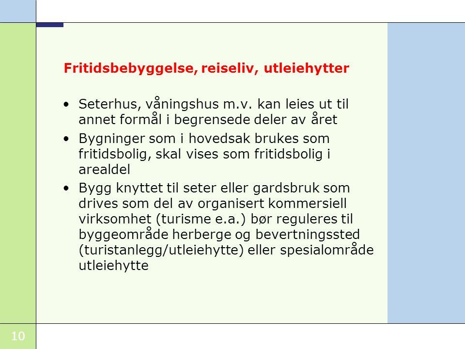 10 Fritidsbebyggelse, reiseliv, utleiehytter •Seterhus, våningshus m.v.