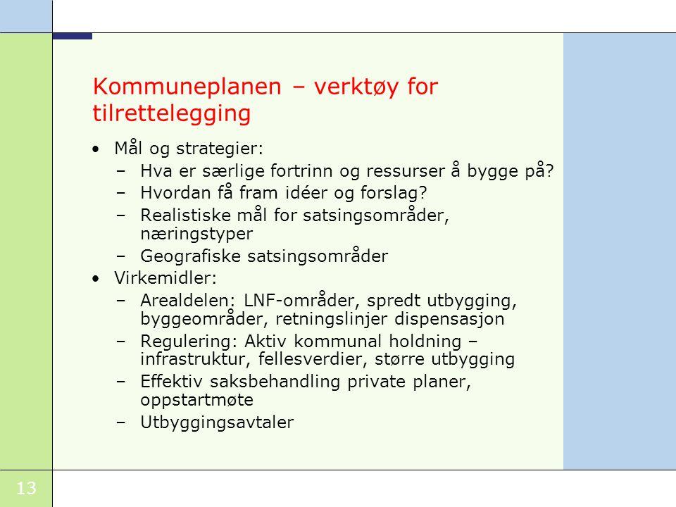 13 Kommuneplanen – verktøy for tilrettelegging •Mål og strategier: –Hva er særlige fortrinn og ressurser å bygge på.