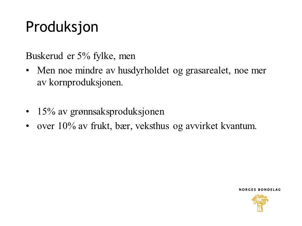 Produksjon Buskerud er 5% fylke, men •Men noe mindre av husdyrholdet og grasarealet, noe mer av kornproduksjonen. •15% av grønnsaksproduksjonen •over