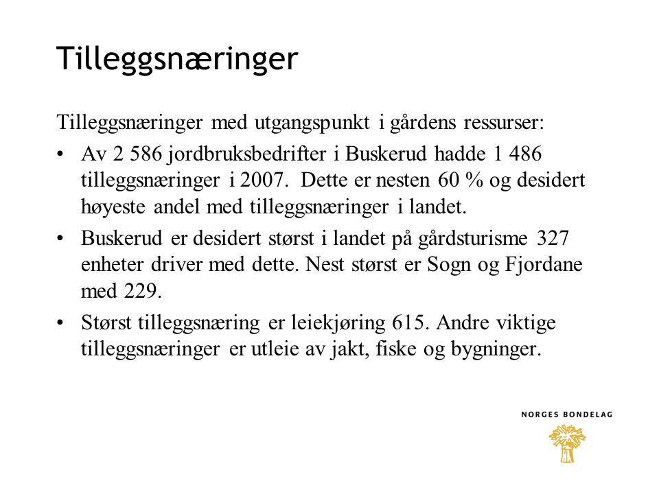 Tilleggsnæringer Tilleggsnæringer med utgangspunkt i gårdens ressurser: •Av 2 586 jordbruksbedrifter i Buskerud hadde 1 486 tilleggsnæringer i 2007. D