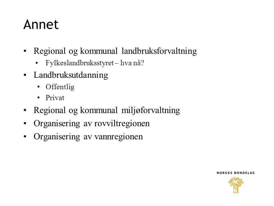 Annet •Regional og kommunal landbruksforvaltning •Fylkeslandbruksstyret – hva nå? •Landbruksutdanning • Offentlig • Privat •Regional og kommunal miljø