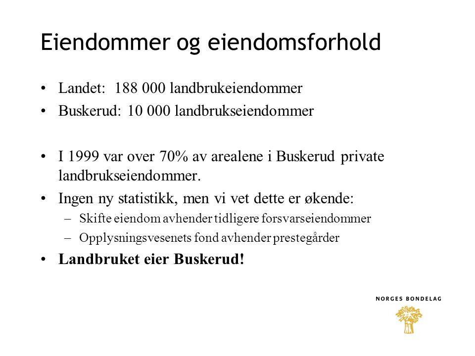 Eiendommer og eiendomsforhold •Landet: 188 000 landbrukeiendommer •Buskerud: 10 000 landbrukseiendommer •I 1999 var over 70% av arealene i Buskerud pr