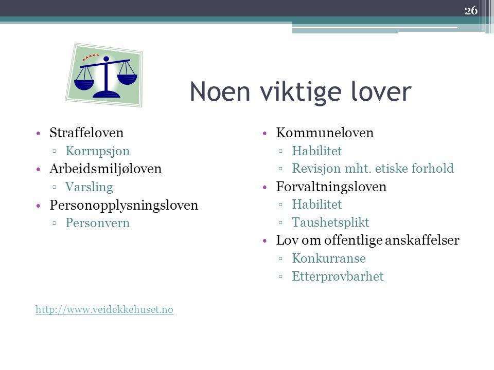 Noen viktige lover •Straffeloven ▫Korrupsjon •Arbeidsmiljøloven ▫Varsling •Personopplysningsloven ▫Personvern http://www.veidekkehuset.no •Kommunelove