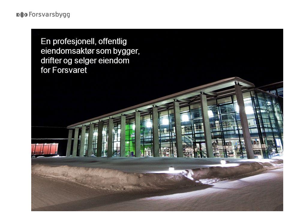 Passivhus  Nytt bygg til Hærens ledelse på Bardufoss  Tas i bruk i løpet av året  60 % lavere energiforbruk enn gjennomsnittlig kontorbygg  Bedre isolerte vinduer, tettere vegger, bedre isolasjon og bedre varmegjenvinning