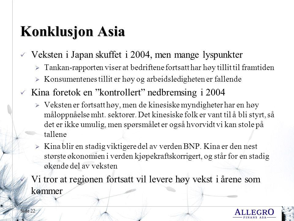 Side 22 Konklusjon Asia  Veksten i Japan skuffet i 2004, men mange lyspunkter  Tankan-rapporten viser at bedriftene fortsatt har høy tillit til framtiden  Konsumentenes tillit er høy og arbeidsledigheten er fallende  Kina foretok en kontrollert nedbremsing i 2004  Veksten er fortsatt høy, men de kinesiske myndigheter har en høy måloppnåelse mht.
