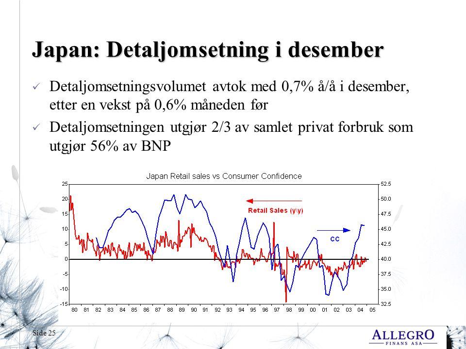 Side 25 Japan: Detaljomsetning i desember  Detaljomsetningsvolumet avtok med 0,7% å/å i desember, etter en vekst på 0,6% måneden før  Detaljomsetningen utgjør 2/3 av samlet privat forbruk som utgjør 56% av BNP