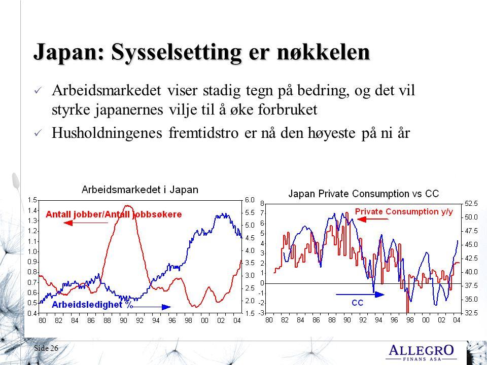 Side 26 Japan: Sysselsetting er nøkkelen  Arbeidsmarkedet viser stadig tegn på bedring, og det vil styrke japanernes vilje til å øke forbruket  Husholdningenes fremtidstro er nå den høyeste på ni år
