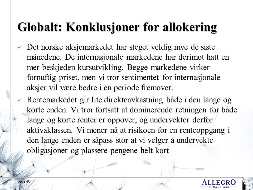 Side 40 Globalt: Konklusjoner for allokering  Det norske aksjemarkedet har steget veldig mye de siste månedene.