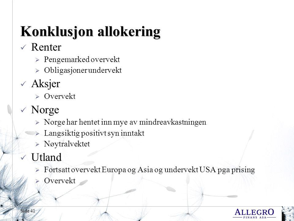 Side 41 Konklusjon allokering  Renter  Pengemarked overvekt  Obligasjoner undervekt  Aksjer  Overvekt  Norge  Norge har hentet inn mye av mindreavkastningen  Langsiktig positivt syn inntakt  Nøytralvektet  Utland  Fortsatt overvekt Europa og Asia og undervekt USA pga prising  Overvekt