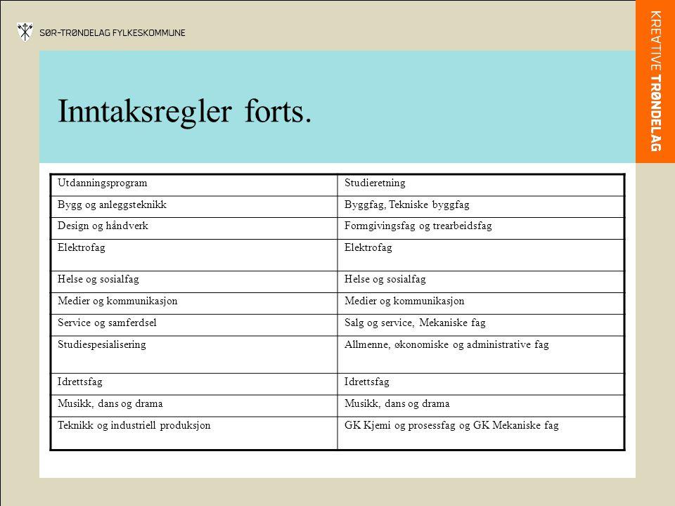 Inntaksregler forts. UtdanningsprogramStudieretning Bygg og anleggsteknikkByggfag, Tekniske byggfag Design og håndverkFormgivingsfag og trearbeidsfag