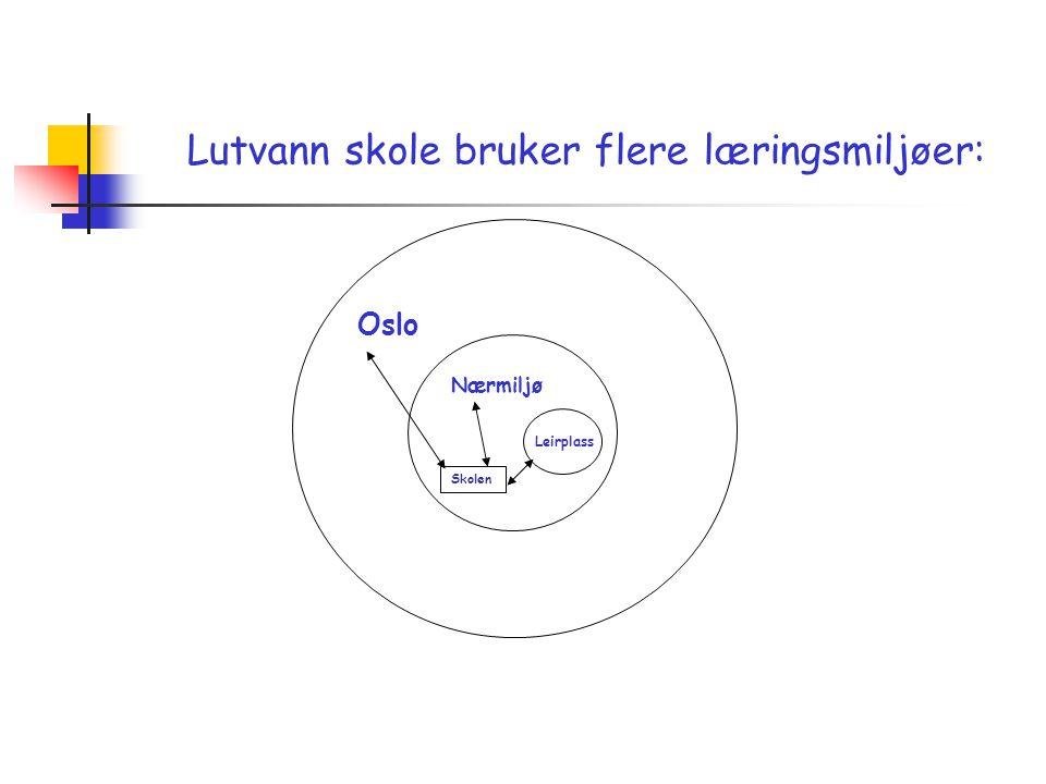 Leirplass Nærmiljø Oslo Skolen Lutvann skole bruker flere læringsmiljøer: