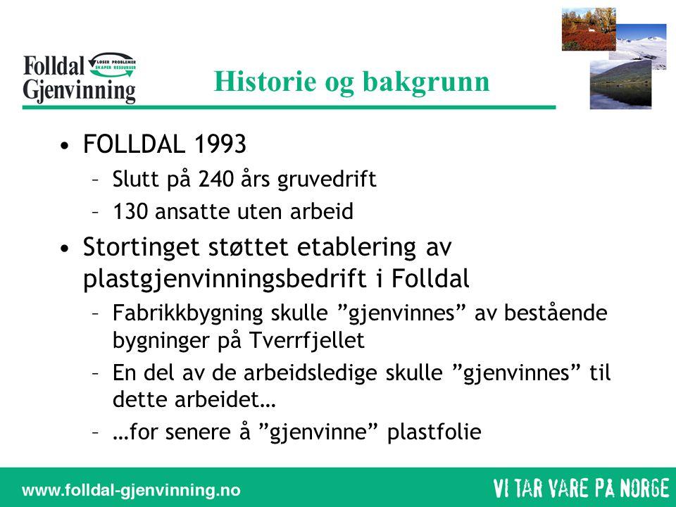 Historie og bakgrunn •FOLLDAL 1993 –Slutt på 240 års gruvedrift –130 ansatte uten arbeid •Stortinget støttet etablering av plastgjenvinningsbedrift i
