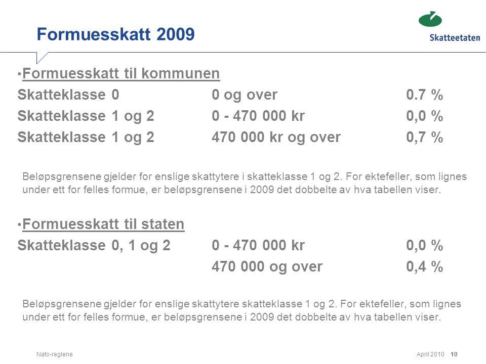 April 2010Nato-reglene10 Formuesskatt 2009 • Formuesskatt til kommunen Skatteklasse 0 0 og over 0.7 % Skatteklasse 1 og 2 0 - 470 000 kr 0,0 % Skattek
