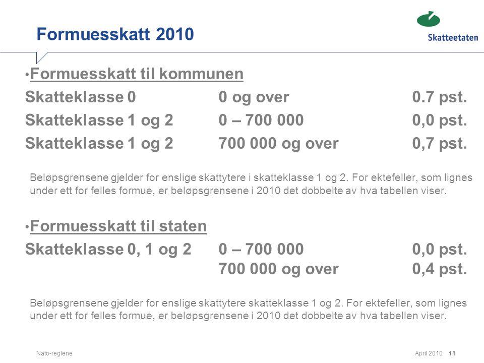 April 2010Nato-reglene11 Formuesskatt 2010 • Formuesskatt til kommunen Skatteklasse 00 og over0.7 pst. Skatteklasse 1 og 20 – 700 000 0,0 pst. Skattek