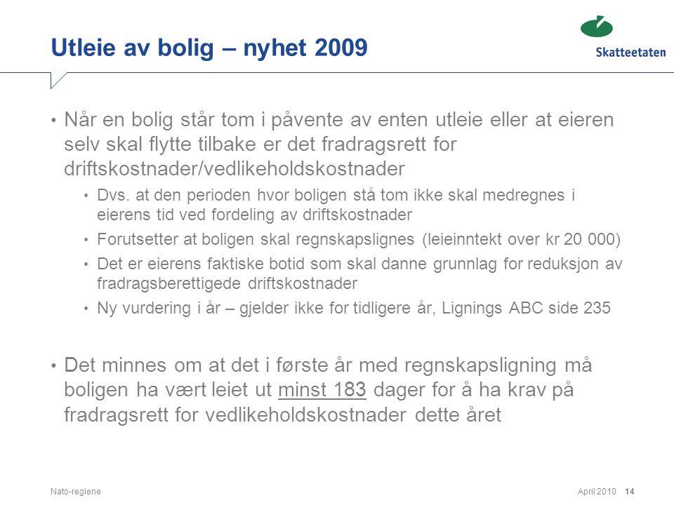 April 2010Nato-reglene14 Utleie av bolig – nyhet 2009 • Når en bolig står tom i påvente av enten utleie eller at eieren selv skal flytte tilbake er de