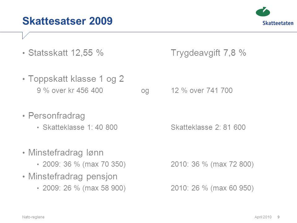 April 2010Nato-reglene9 Skattesatser 2009 • Statsskatt 12,55 %Trygdeavgift 7,8 % • Toppskatt klasse 1 og 2 9 % over kr 456 400og 12 % over 741 700 • P