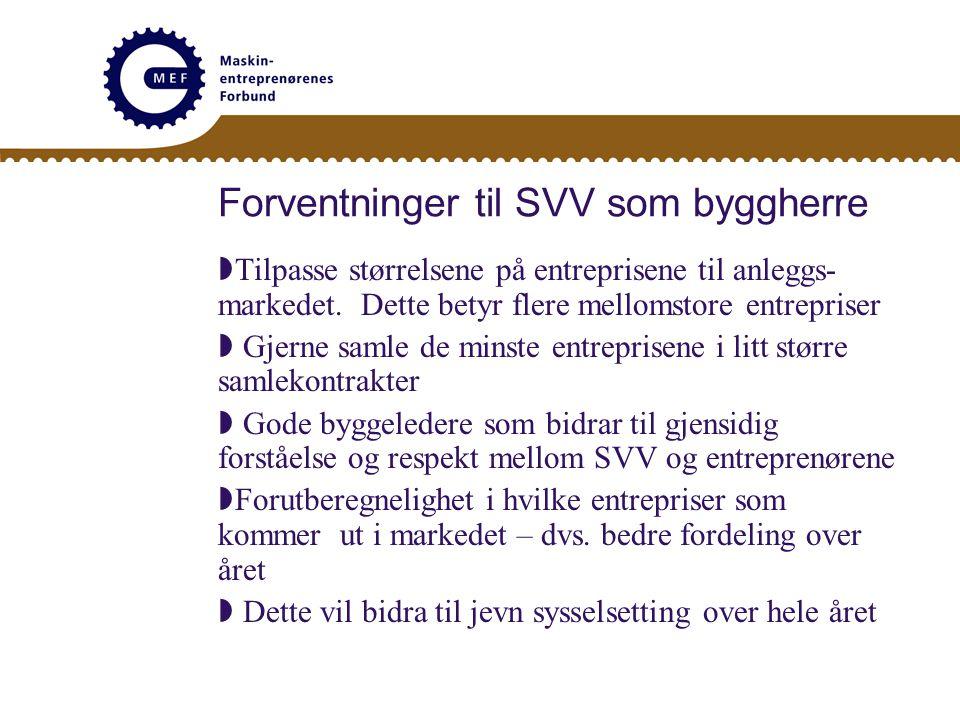 Forventninger til SVV som byggherre  Tilpasse størrelsene på entreprisene til anleggs- markedet.