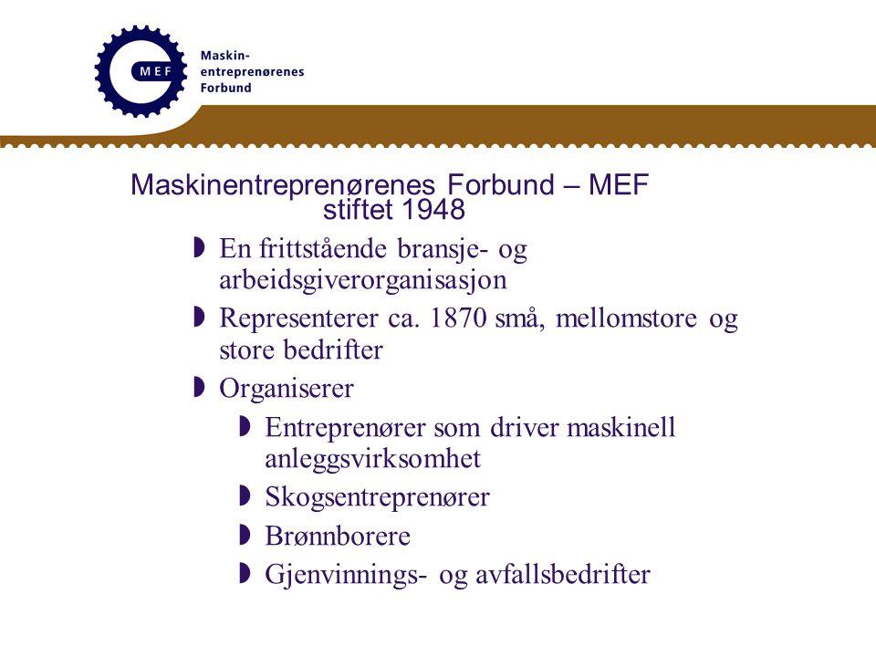 Maskinentreprenørenes Forbund – MEF stiftet 1948  En frittstående bransje- og arbeidsgiverorganisasjon  Representerer ca.