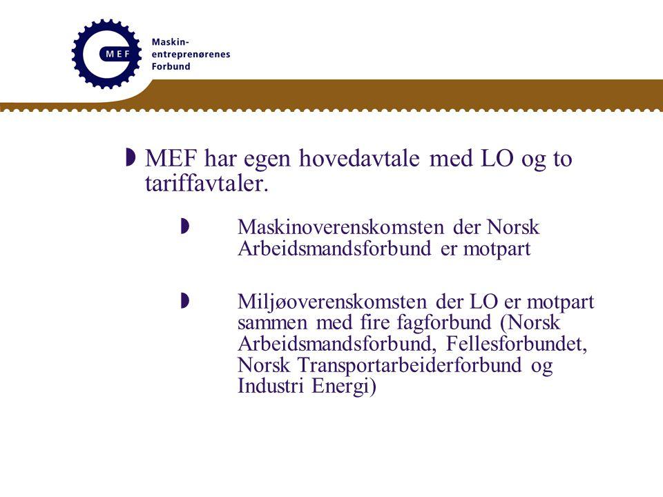  MEF har egen hovedavtale med LO og to tariffavtaler.  Maskinoverenskomsten der Norsk Arbeidsmandsforbund er motpart  Miljøoverenskomsten der LO er