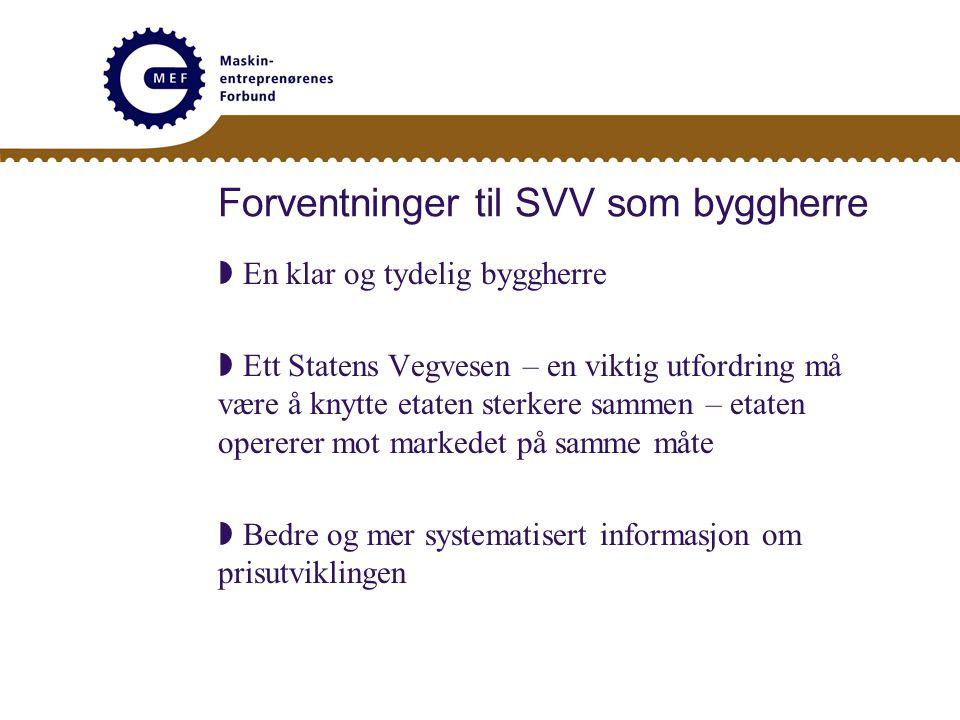 Forventninger til SVV som byggherre  Statens Vegvesen benytter anerkjente kontrakts- bestemmelser med minst mulige endringer  Få sterkere framdrift i arbeid rundt samordning med NS 3420 – jfr.