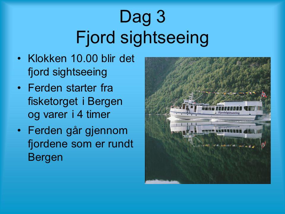 Dag 3 Fjord sightseeing •Klokken 10.00 blir det fjord sightseeing •Ferden starter fra fisketorget i Bergen og varer i 4 timer •Ferden går gjennom fjordene som er rundt Bergen