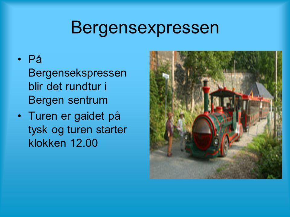 Bergensexpressen •På Bergensekspressen blir det rundtur i Bergen sentrum •Turen er gaidet på tysk og turen starter klokken 12.00
