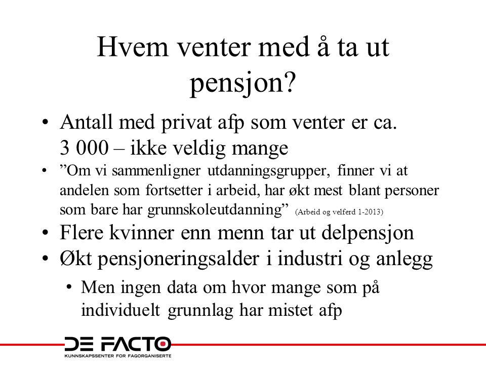 Hvem venter med å ta ut pensjon.•Antall med privat afp som venter er ca.