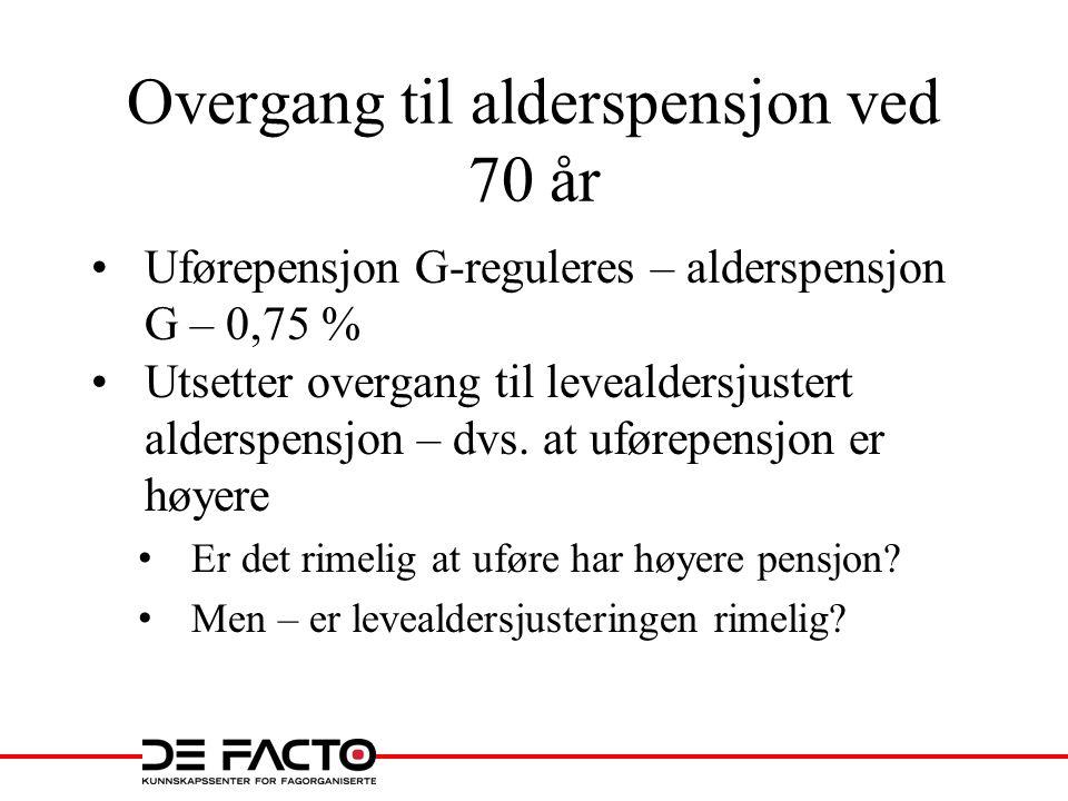 Overgang til alderspensjon ved 70 år •Uførepensjon G-reguleres – alderspensjon G – 0,75 % •Utsetter overgang til levealdersjustert alderspensjon – dvs.