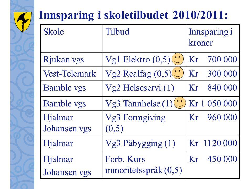 Innsparing i skoletilbudet 2010/2011: SkoleTilbudInnsparing i kroner Rjukan vgsVg1 Elektro (0,5)Kr 700 000 Vest-TelemarkVg2 Realfag (0,5)Kr 300 000 Bamble vgsVg2 Helseservi.(1)Kr 840 000 Bamble vgsVg3 Tannhelse (1)Kr 1 050 000 Hjalmar Johansen vgs Vg3 Formgiving (0,5) Kr 960 000 HjalmarVg3 Påbygging (1)Kr 1120 000 Hjalmar Johansen vgs Forb.
