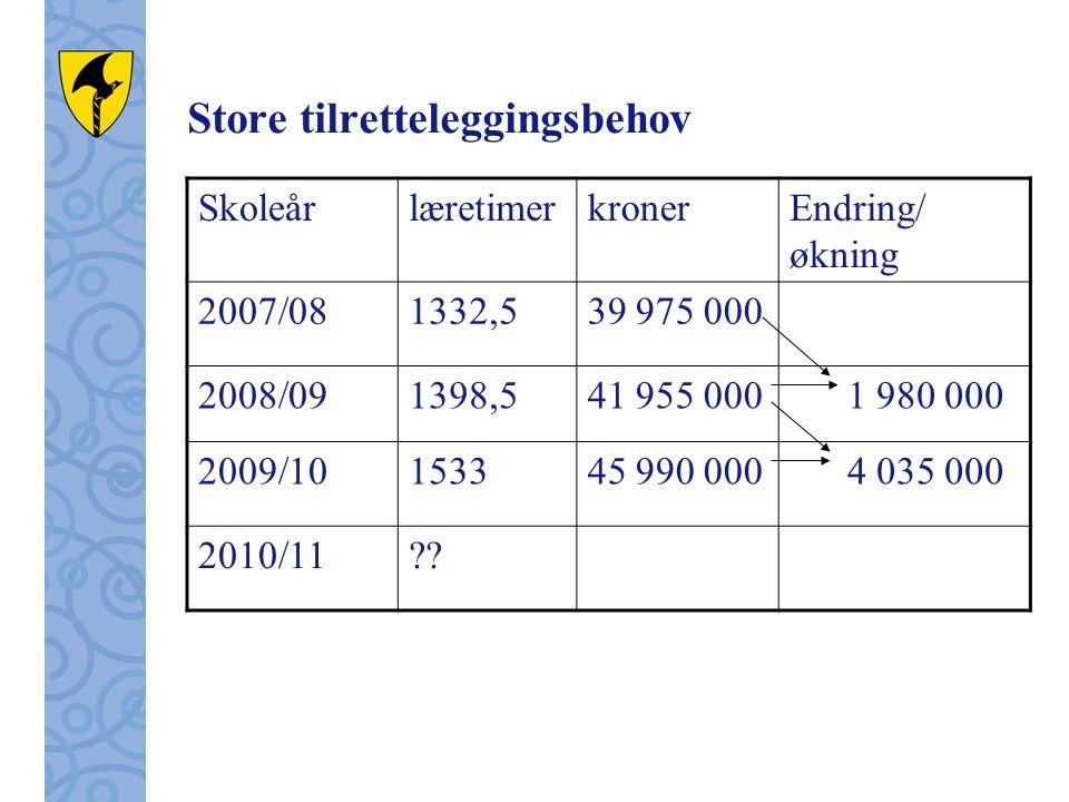 Store tilretteleggingsbehov SkoleårlæretimerkronerEndring/ økning 2007/081332,539 975 000 2008/091398,541 955 000 1 980 000 2009/10153345 990 000 4 03