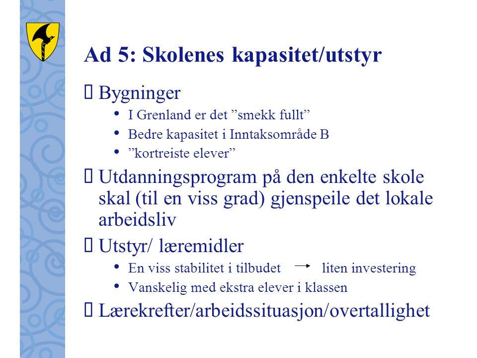 """Ad 5: Skolenes kapasitet/utstyr  Bygninger • I Grenland er det """"smekk fullt"""" • Bedre kapasitet i Inntaksområde B • """"kortreiste elever""""  Utdanningspr"""
