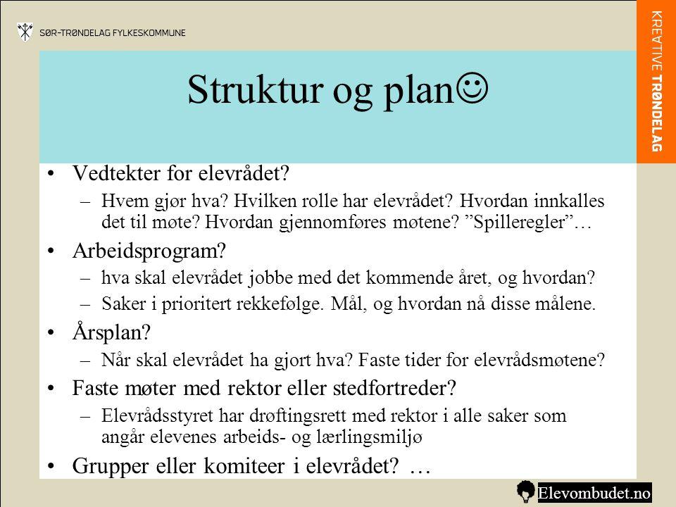 Struktur og plan  •Vedtekter for elevrådet? –Hvem gjør hva? Hvilken rolle har elevrådet? Hvordan innkalles det til møte? Hvordan gjennomføres møtene?