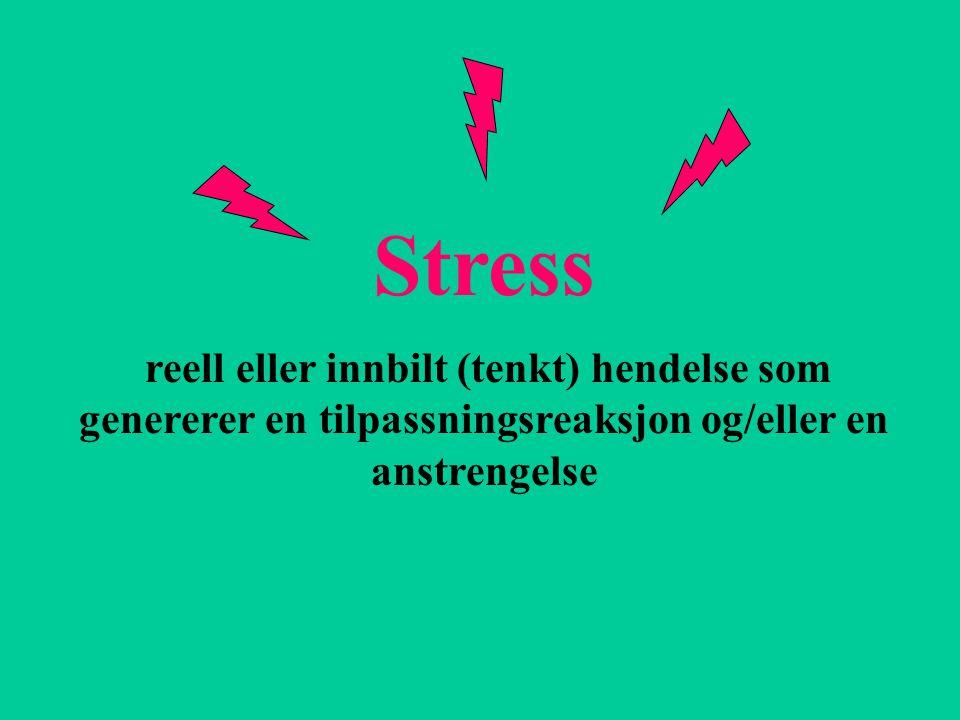 Stress reell eller innbilt (tenkt) hendelse som genererer en tilpassningsreaksjon og/eller en anstrengelse