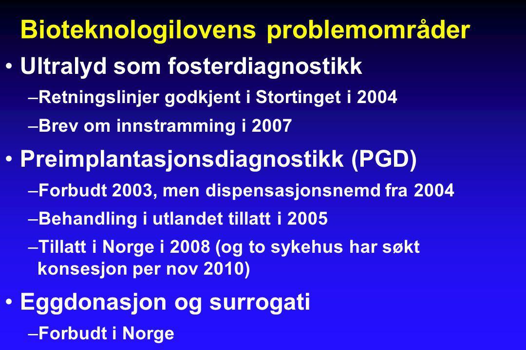 Bioteknologilovens problemområder •Ultralyd som fosterdiagnostikk –Retningslinjer godkjent i Stortinget i 2004 –Brev om innstramming i 2007 •Preimplantasjonsdiagnostikk (PGD) –Forbudt 2003, men dispensasjonsnemd fra 2004 –Behandling i utlandet tillatt i 2005 –Tillatt i Norge i 2008 (og to sykehus har søkt konsesjon per nov 2010) •Eggdonasjon og surrogati –Forbudt i Norge
