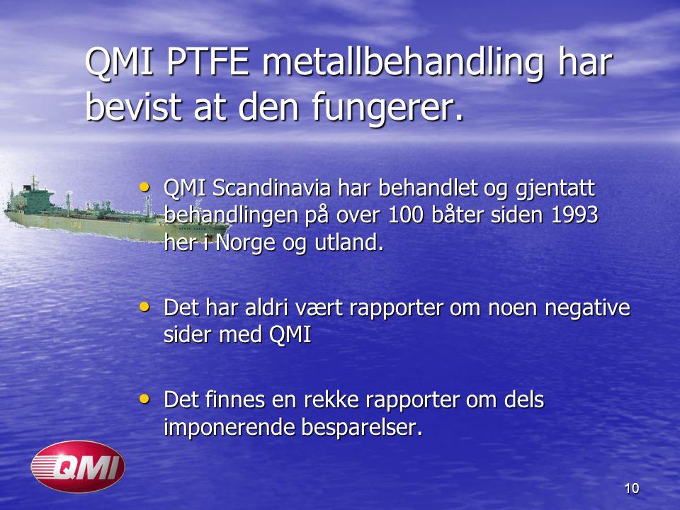 10 QMI PTFE metallbehandling har bevist at den fungerer. • QMI Scandinavia har behandlet og gjentatt behandlingen på over 100 båter siden 1993 her i N