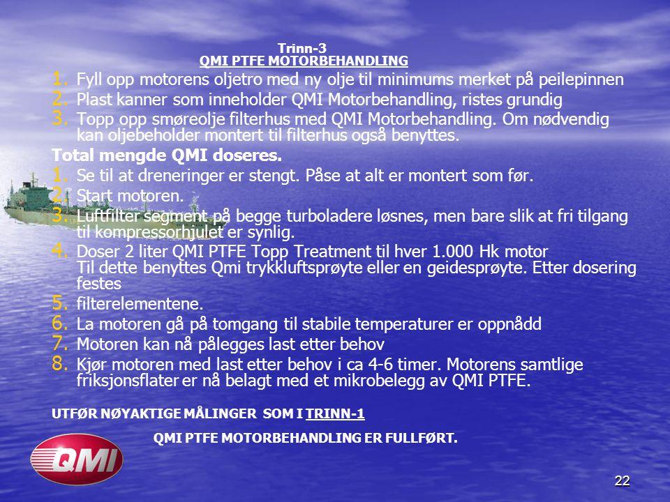 22 Trinn-3 QMI PTFE MOTORBEHANDLING 1. 1. Fyll opp motorens oljetro med ny olje til minimums merket på peilepinnen 2. 2. Plast kanner som inneholder Q